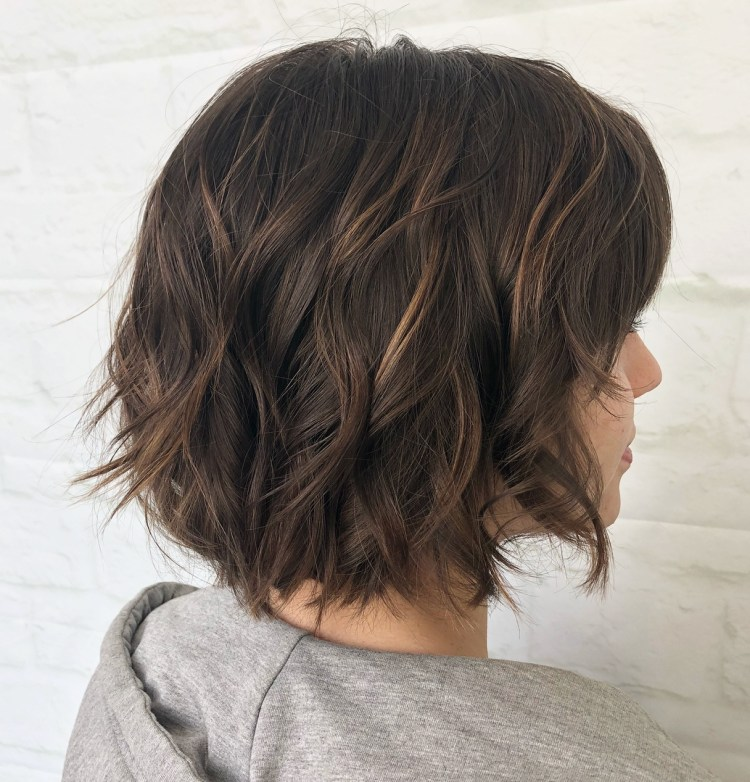 Brown Bob With Waves And Highlights