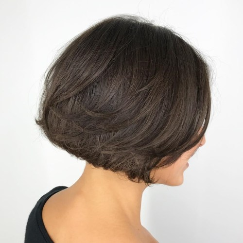 Jaw-Length Brunette Bob with Layers