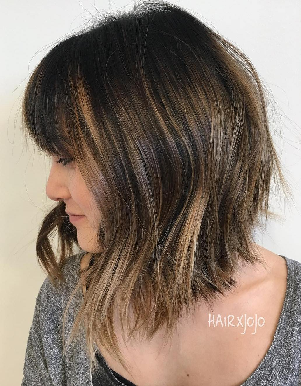 Angled Choppy Lob With Bangs