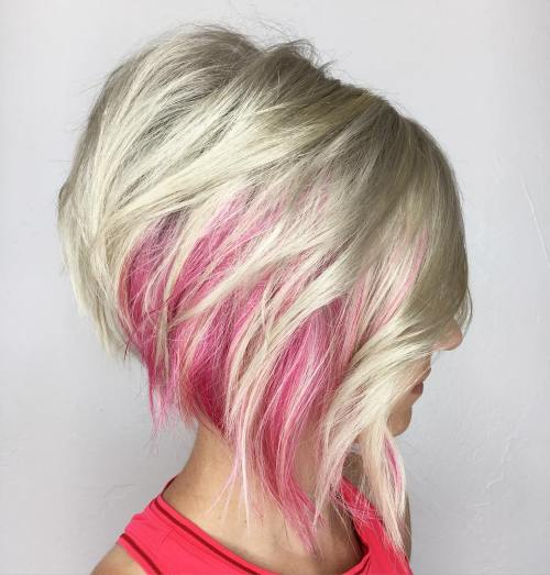 Asymmetrical Layered Blonde Bob