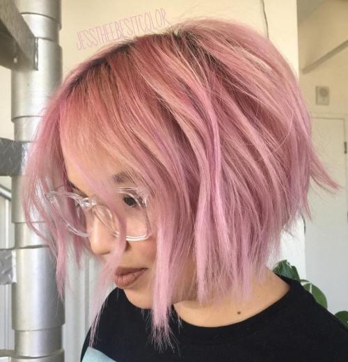 Chin-Length Choppy Pastel Pink Bob