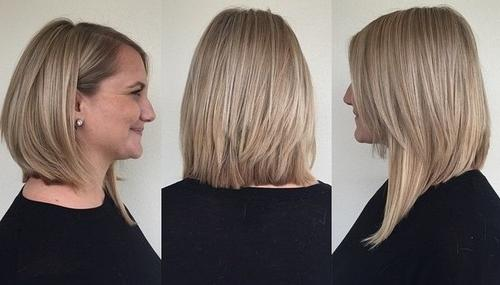 Long layered asymmetrical bob