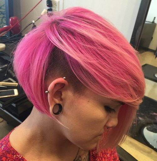 pink asymmetrical bob with undershave