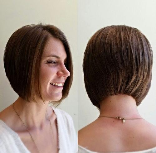 Layered chin-length bob haircut
