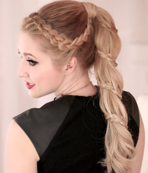 braided around long pony hairstyle