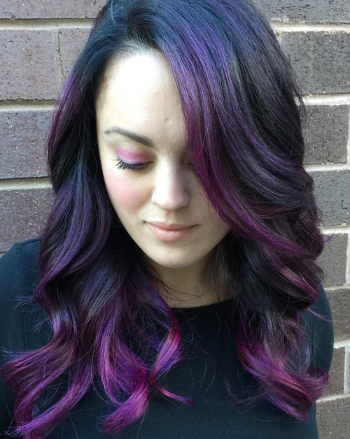black hair with violet balayage