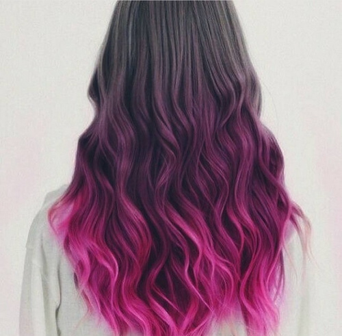 pink ombre for long black hair