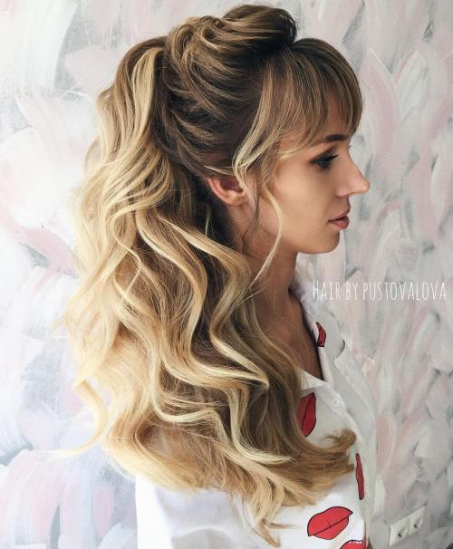 Curly Long Ponytail With Bangs