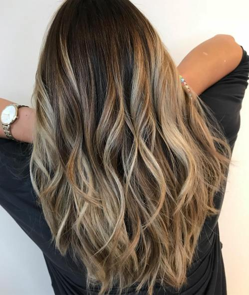 Layered Bronde Balayage Long Hair