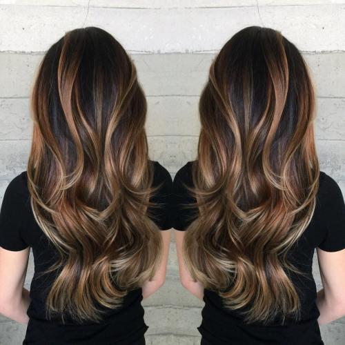 Long Caramel And Blonde Balayage Hair