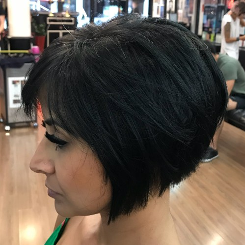 Short Inverted Black Bob With Layers