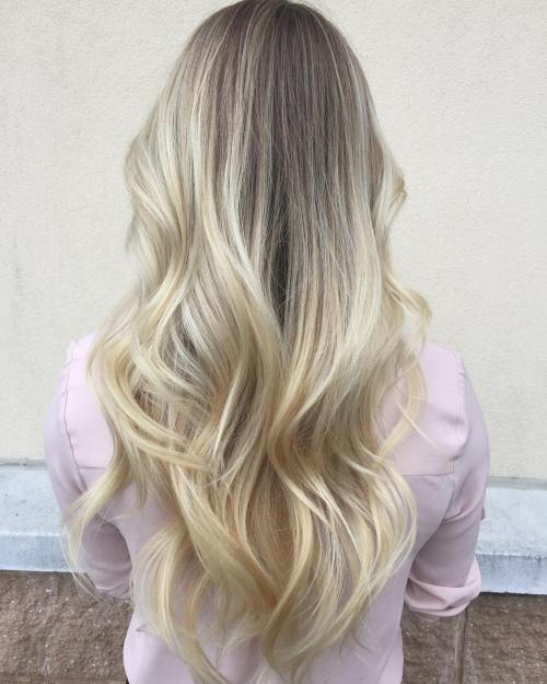 Long Platinum Blonde Balayage Hair