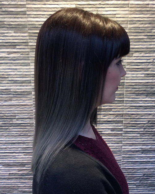 medium straight brown hair with gray ombre