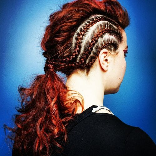 braided mohawk into curly pony