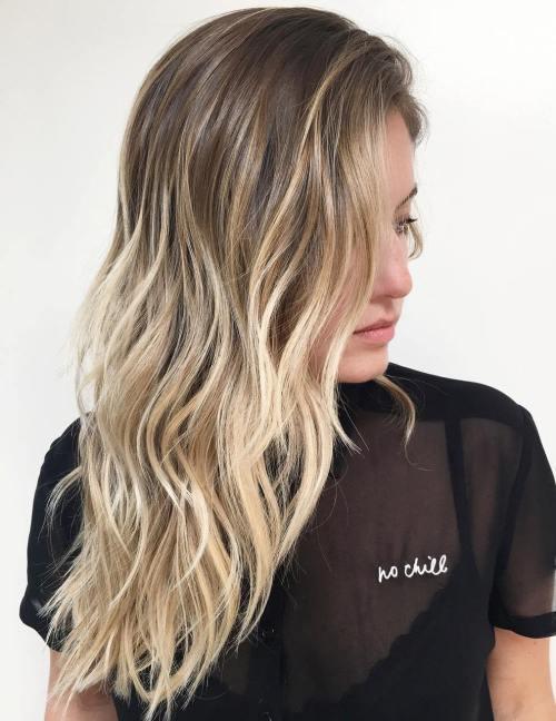 Brown To Blonde Layered Balayage Hair
