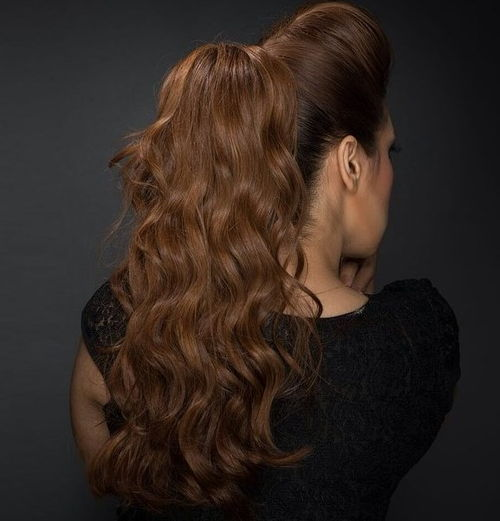 long wavy ponytail with a bouffant