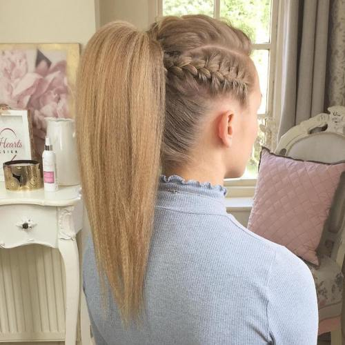 Ponytail With Mohawk Braids