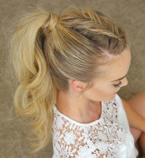 long tousled braided ponytail