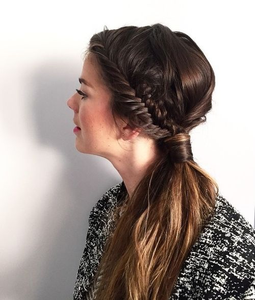 side pony with fishtail braid