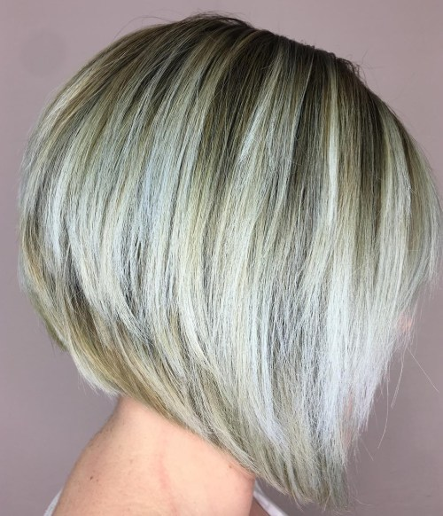 Stacked Bronde Bob With White Balayage