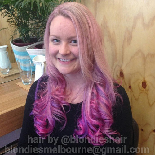 pink and lavender ombre for blondes