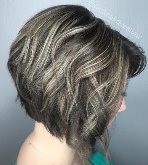 Brown Layered Bob With Blonde Highlights
