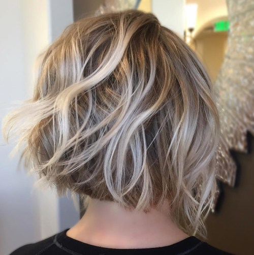 Dishwater Blonde Bob With Platinum Highlights