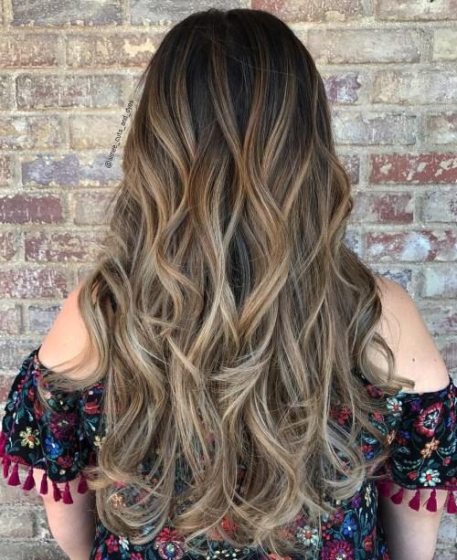 Long Ash Brown Balayage Hair