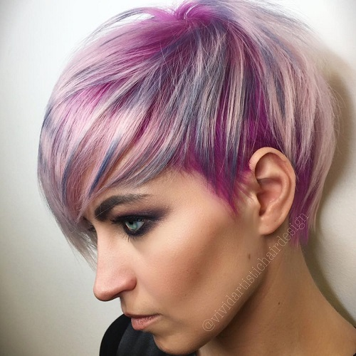 Short Pastel Purple Hairstyle With Highlights