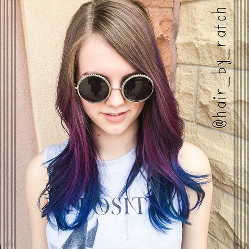 lavender to purple ombre iwith blue ends