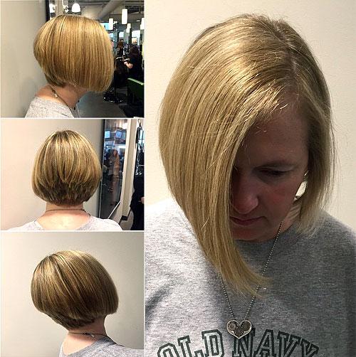stacked asymmetrical blonde bob