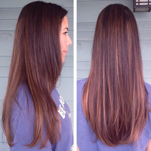 dark bron hair with caramel highlights