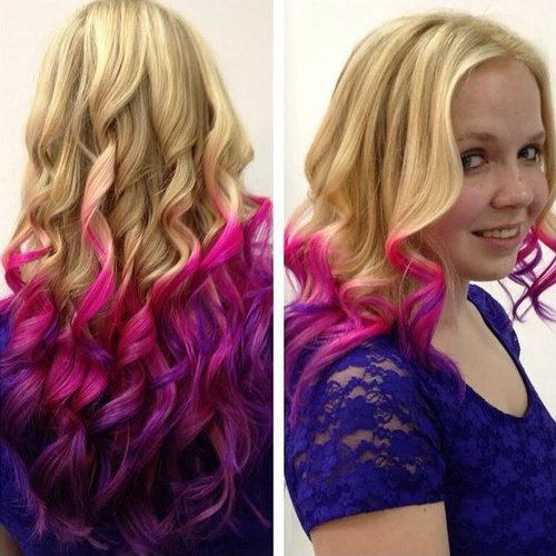 golden blonde hair with pink ombre