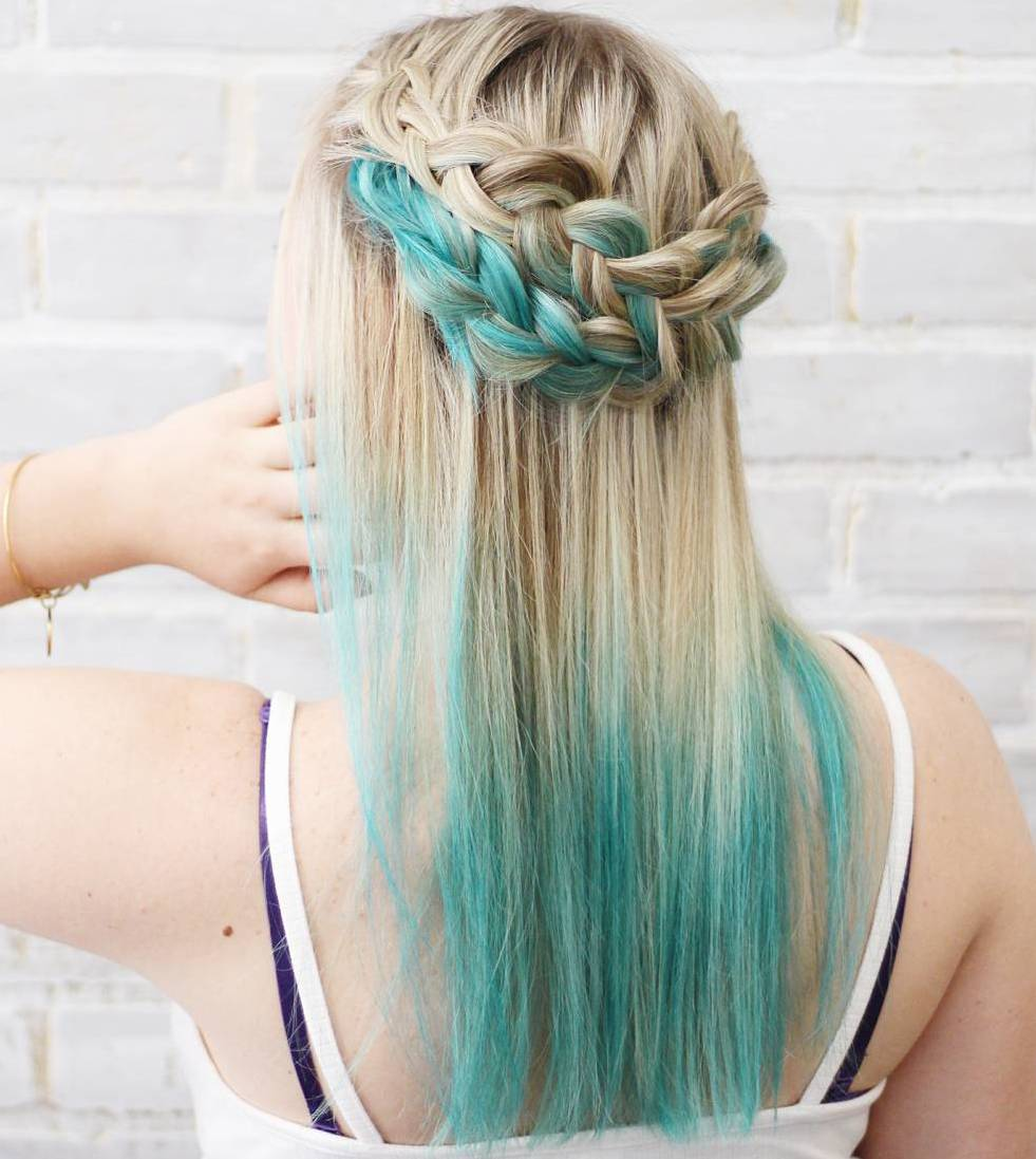 Blonde And Blue Dip Dyed Hair Www Pixshark Com Images