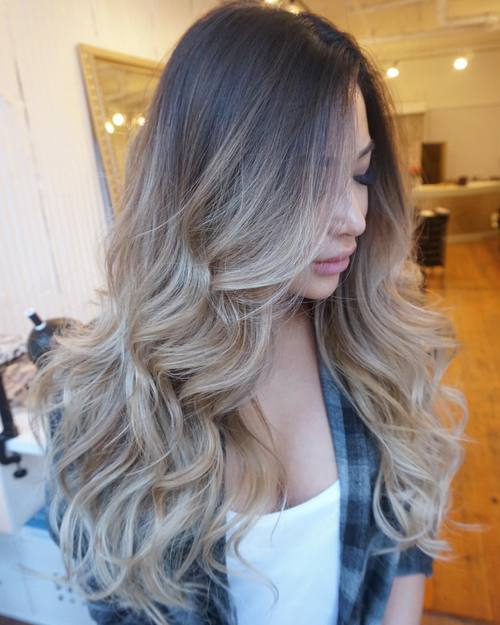 ash blonde ombre for long hair