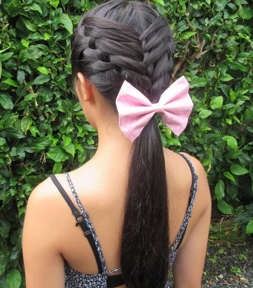 Triple Braid Updo With A Low Ponytail