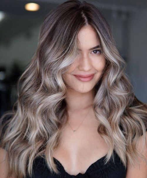 Ash Blonde Balayage Brown Hair