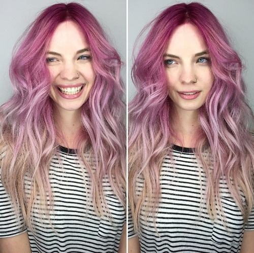 pink to ashy blonde ombre