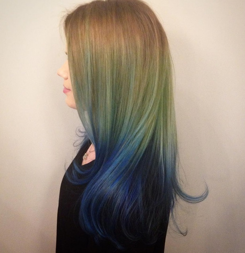 light brown into blue ombre