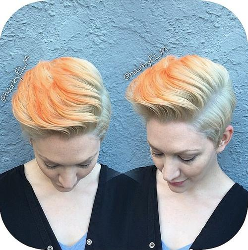 pixie haircut styled pompadour