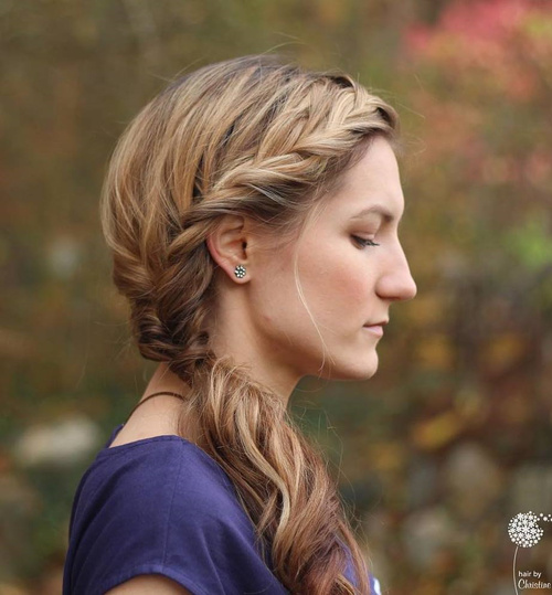 Headband Braid Into Side Pony Hairstyle