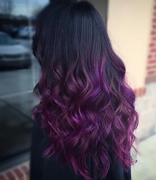 long black hair with reddish purple ombre