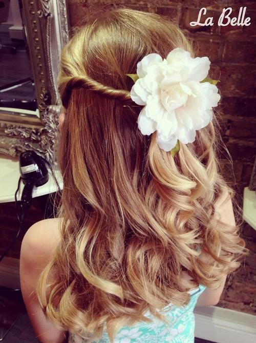 simple half up girls hairstyle