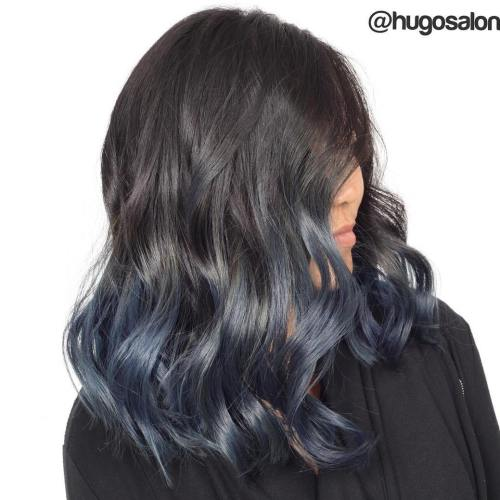 Subtle Blue Ombre For Brown Hair