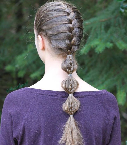 French Braid And Bubble Ponytail