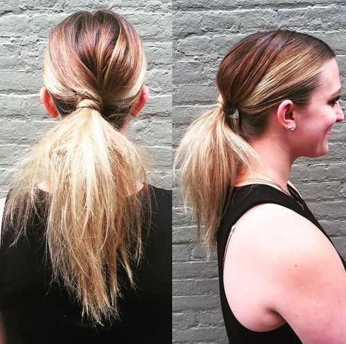low messy pony for straight ombre hair