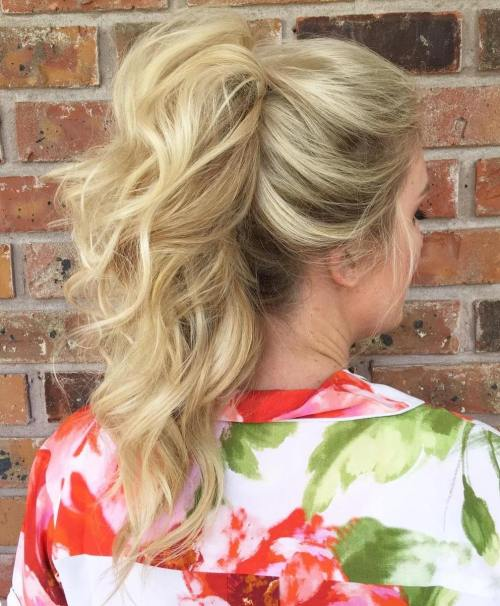 Curly Tousled Blonde Ponytail