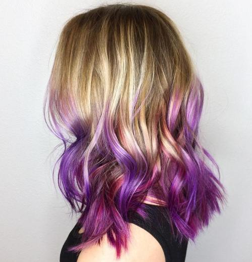Honey Blonde Hair With Purple Ombre