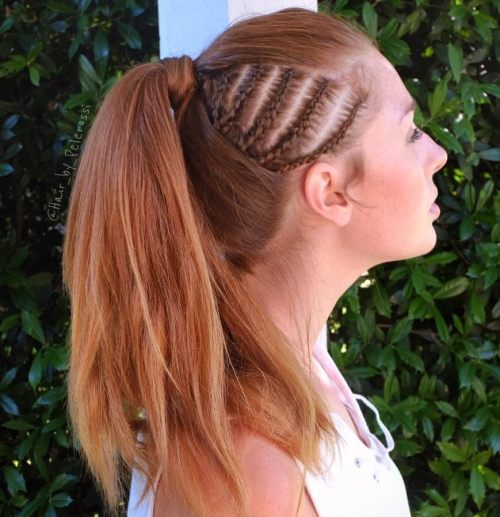 Ponytail With Side Cornrows