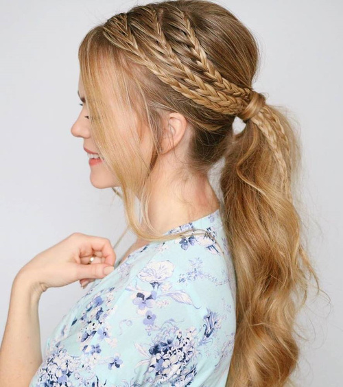 Ponytail With Three Side Braids